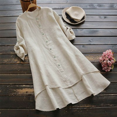 Women Casual Loose Linen Soild Button Long Sleeve Long Shirt Blouse Tops