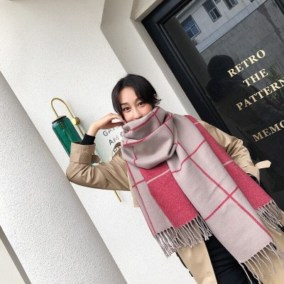 Gray Plaid Scarf for Women Winter  Ladies Tippet