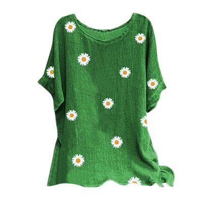 Fashion Daisy Print Blouse Women Cotton And Linen O-neck Short Sleeve Top Shirts Blouse