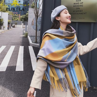 Colorful Plaid Cashmere Shawl for Women Winter Scarves Wrap