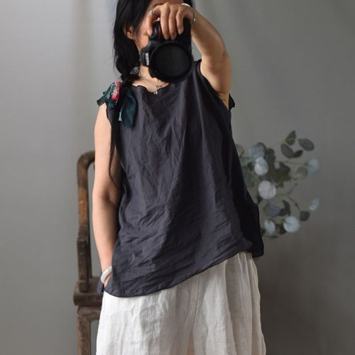 Women Sleeveless Tank Solid Color Cotton O-Neck Loose