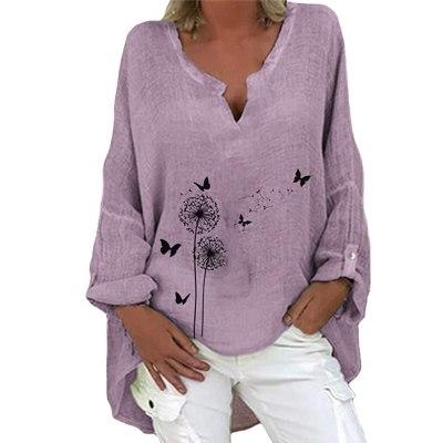 Cotton Linen Plus Size Blouse Casual Loose Long Sleeve Floral Print