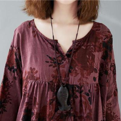 Loose Plus Size V-neck Batwing Sleeve All-match Pullover Print Shirt