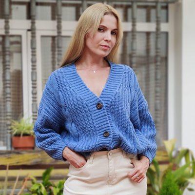 Vintage Cardigan Knitted V Neck Sweater Women Autumn Winter Coat & Jackets Women