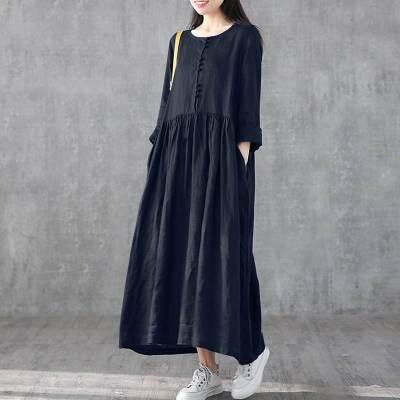 Women's Casual Sundress Fashion Linen Shirt Dress Spring Long Sleeve