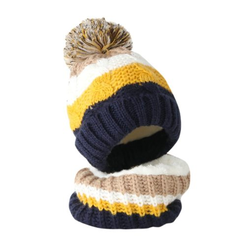 Toddler Girl&Boy Baby Splice Crochet Knit Hat Beanie Hairball Cap Scarf Set Suit