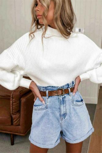 Ladies lantern Sleeve Knitting Sweater Solid Turtleneck  Pullover Loose Sweater