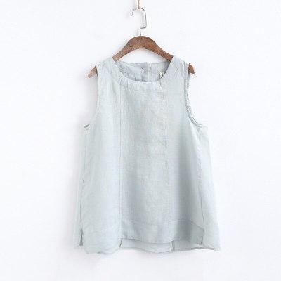 Women Cotton Linen Vests Tank Solid Color  Sleeveless