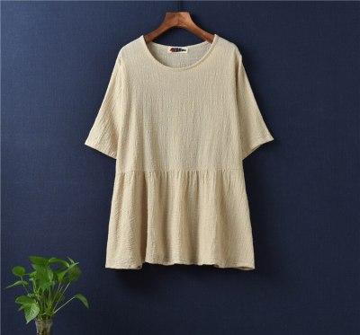 Casual Style Cotton Linen Women T-shirt