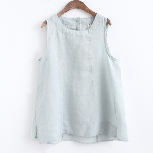 Women Cotton Linen Vests Tank Solid Color  Sleeveless