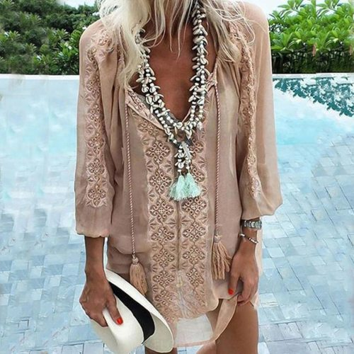 Women Blouse Linen Embroidered Pocket Round Neck Long Top Blouse Tunic Summer Floral Print