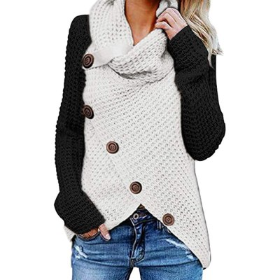 Vintage Turtleneck Women Color Patchwork Knitted Sweater