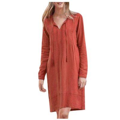 Women Casual Dress Autumn Vintage Long Sleeve V-Neck Dress Fashion Loose