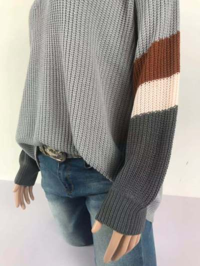V Neck Striped Patchwork Sleeve Knit Sweater Women Loose Pullover Fall Sweaters Fashion New
