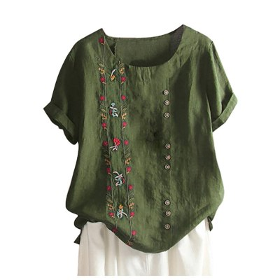 Cotton And Linen Blouse Women Bohemian Floral Embroidered Shirt Short Sleeves Top Blouse