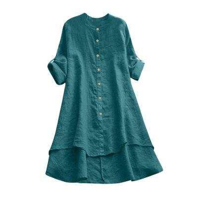 Women Casual Loose Linen Soild Button Long Sleeve Long Shirt Blouse Tops