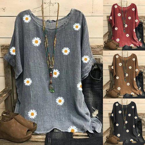 Fashion Daisy Print Blouse Women Cotton And Linen O-neck Short Sleeve Top Shirts Blouse