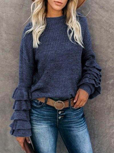 Black Jumper Knit Winter Sweater Women Ruffles Long SleeveFashion Women Clothes