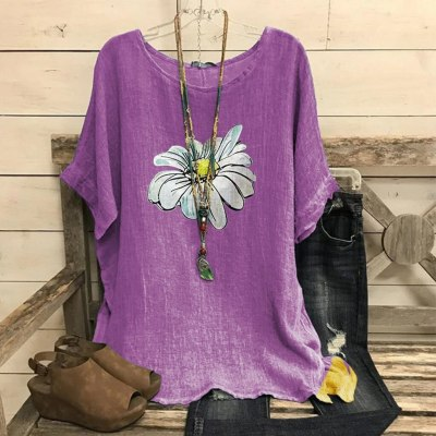 Vintage Blouse Women Cotton And Blend O-neck Short Sleeve Top Shirts Floral Print Casual Blouse