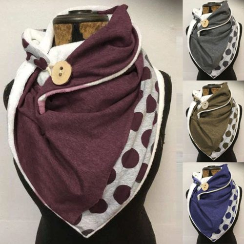 Women Printing Scarf Fashion Retro Multi-Purpose Shawl Button Scarf
