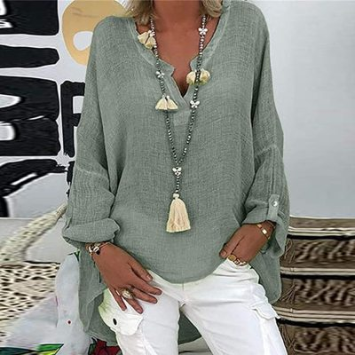 Solid Color Cotton Linen Blouse Women Plus Size Blouses Shirts