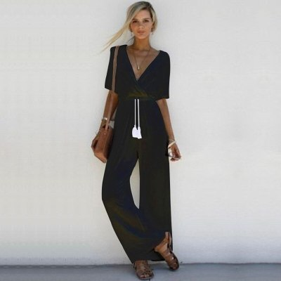 Loose Casual  with Tassel Drawstring Tie Waist V Neck Straight Wide Leg Jumpsuit