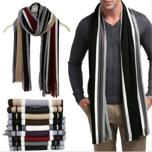 New Mens Cashmere Scarf Winter Warm Soft Fringe Striped Tassel Long Shawl Wrap