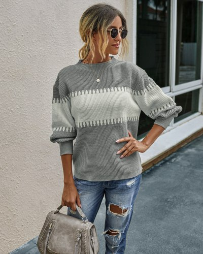 New Women'S Pullovers Knit Sweater Autumn Winter Fashion  Casual Long Sleeve Patchwork Loose Sweaters