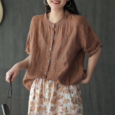 Cotton Linen Short Sleeve Single Breasted Shirt