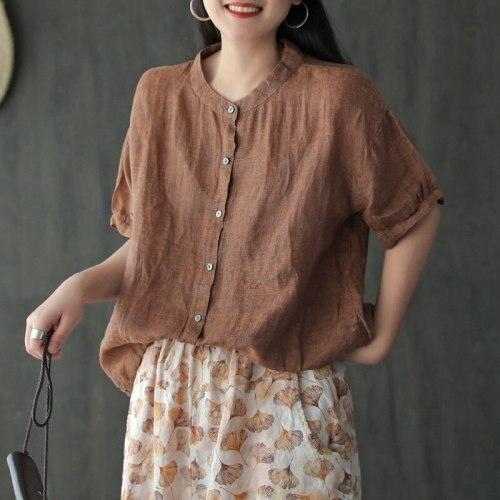 Cotton Linen Short Sleeve Single Breasted Shirt