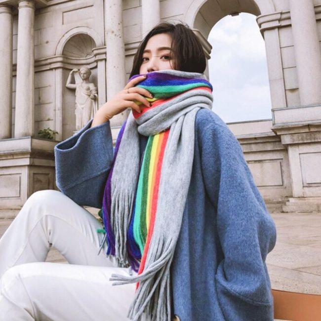 Thick Cashmere Scarves Women Warm Cotton Shawl Patchwork Wrap