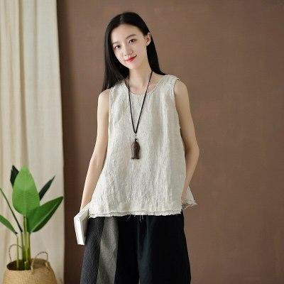 Women Vintage Cotton Linen Tanks  Sleeveless Patchwork