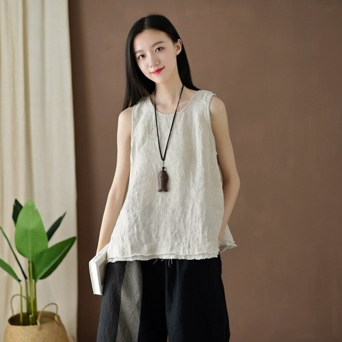 Women Vintage Cotton Linen Tanks  Sleeveless Patchwork