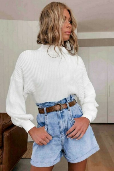 Ladies lantern Sleeve Knitting Sweater Solid Turtleneck  Pullover Loose Sweater