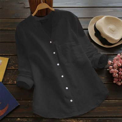 New Hot Cotton And Linen Blouse Women Casual Solid Long Sleeve Shirt