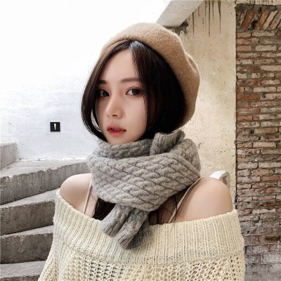 Thick Warm Women's Winter Knit Scarf Men Black Scarves