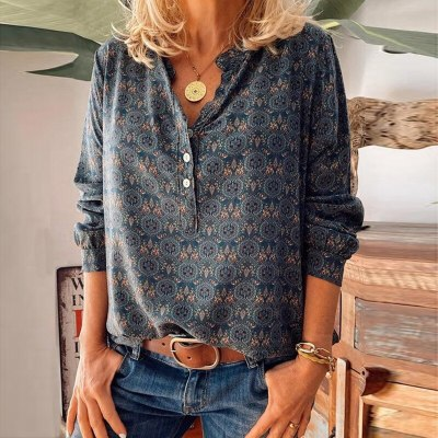 Autumn and winter new 2020 hot sale retro printed V-Neck long sleeve loose blouse women's casual plus size T-shirt 5XL