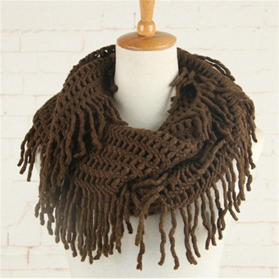 Crochet Snood Pattern Knitted Scarf Women Solid Tassel Ring Tube Shawls