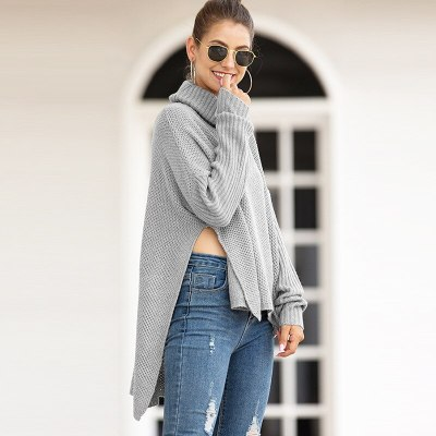 Winter Fashion Women's New Style Short Back High Neck Split Pullover Sweaters