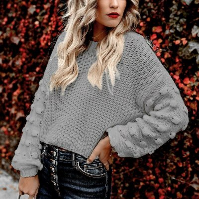 Women's Sweater New Cropped Loose Puff Sleeve Knitted Sweater