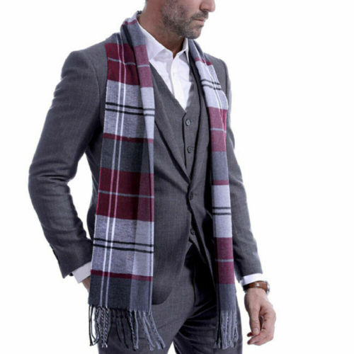 Mens Wool Check Plaid Winter Warm Shawl Neck Wrap Long Scarf