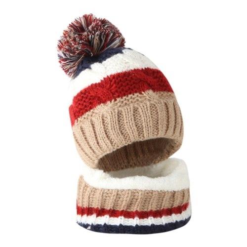 Toddler Girl&Boy Baby Splice Crochet Knit Hat Beanie Hairball Cap Scarf Set Suit