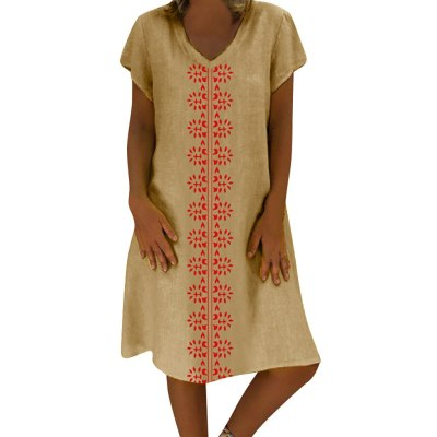 Women Summer Style V-Neck Printed Cotton And Linen Casual Plus Size Ladies Dress