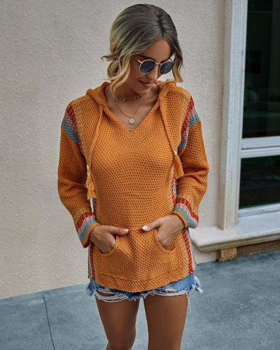 New Autumn Color Block Hooded Long Sleeve Pullover Loose Fashion Woman Loose Pockets Sweater