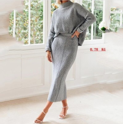 Knitted Autumn 2 Pieces Sweater Set Women Sweaters Pullover Crop Tops Knitted Skirts