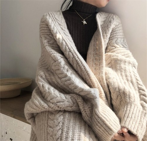 NEW Women Korean Casual Long Sweater Cardigan Soft Comfortable Solid Free Size Loose Long Sleeve Female Bat Sleeve Knitted