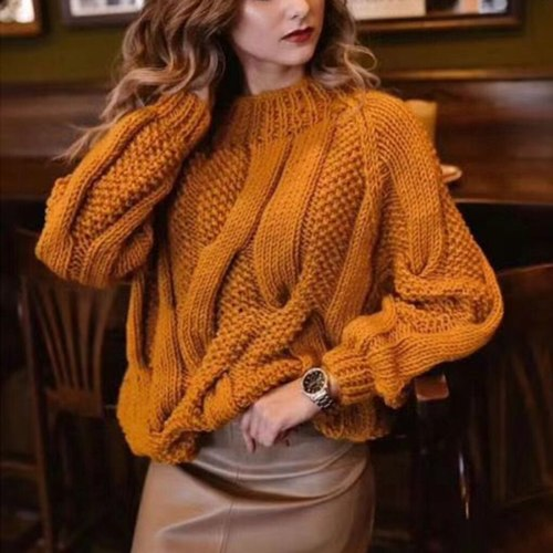 Womens Turtleneck Sweater Women's Solid Twist Knit Top Pullover