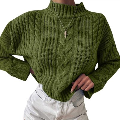 Knitted Turtleneck  Long Sleeve Sweater Women Autumn Solid Pullover Sweater