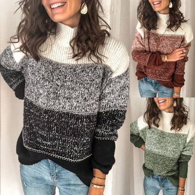 Fashion Color-block Striped Sweater Women Autumn Winter
