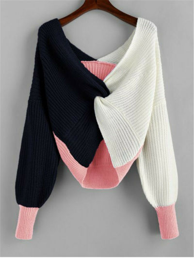 Fashion Women Blouse Sexy Color Block Sweater Loose Tops Casual Long Sleeve Pullover Jumper Knit Blouse Streetwear